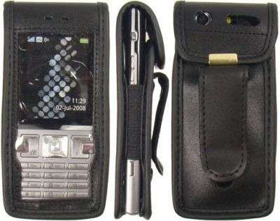 caseroxx Leather-Case with belt clip for Sony Ericsson T700 made of genuine leather, mobile phone cover in black