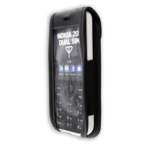 caseroxx Leather-Case with belt clip for Nokia 207 und 208 made of genuine leather, mobile phone cover in black