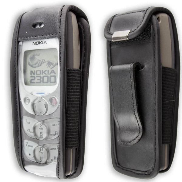 caseroxx Leather-Case with belt clip for Nokia 2300 made of genuine leather, mobile phone cover in black