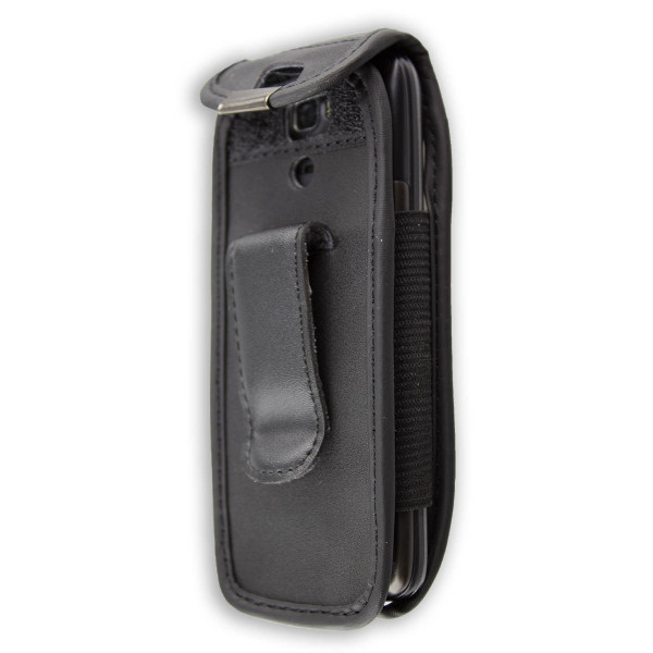 caseroxx Leather-Case with belt clip for Swisstone SC560 made of genuine leather, mobile phone cover in black