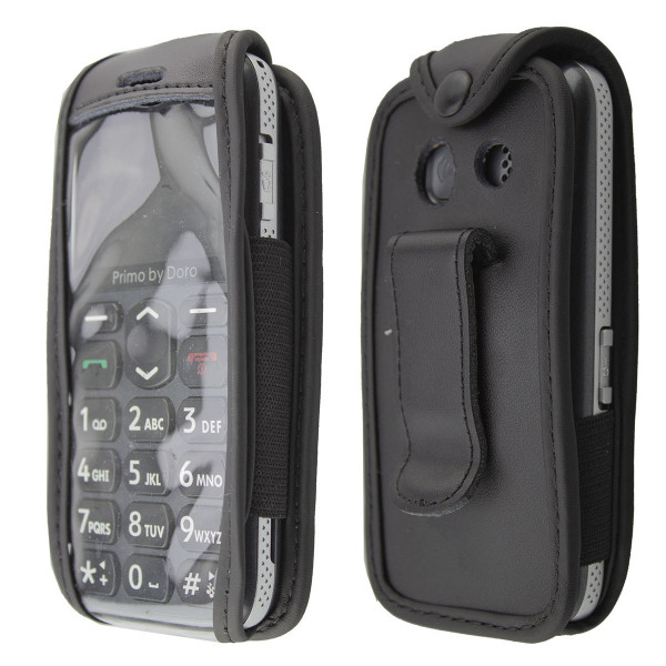 caseroxx Leather-Case with belt clip for Doro Primo 215 made of genuine leather, mobile phone cover in black