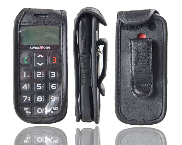 caseroxx Leather-Case with belt clip for Swisstone BBM 320 made of genuine leather, mobile phone cover in black
