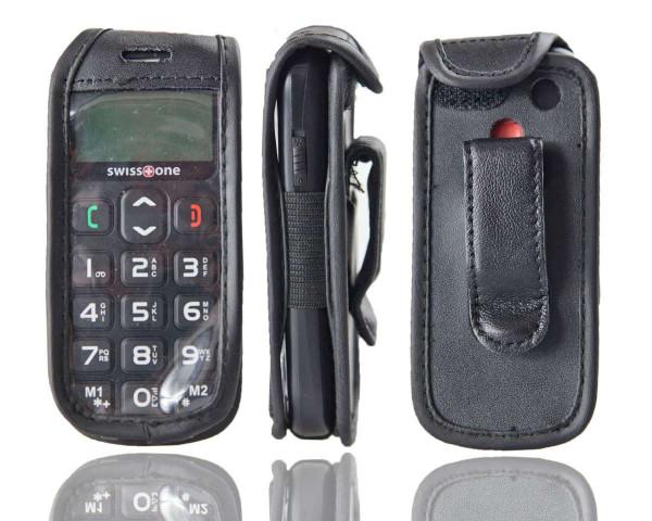 caseroxx Ledertasche mit Gürtelclip für Swisstone BBM 320 aus Echtleder, Handyhülle für Gürtel (mit