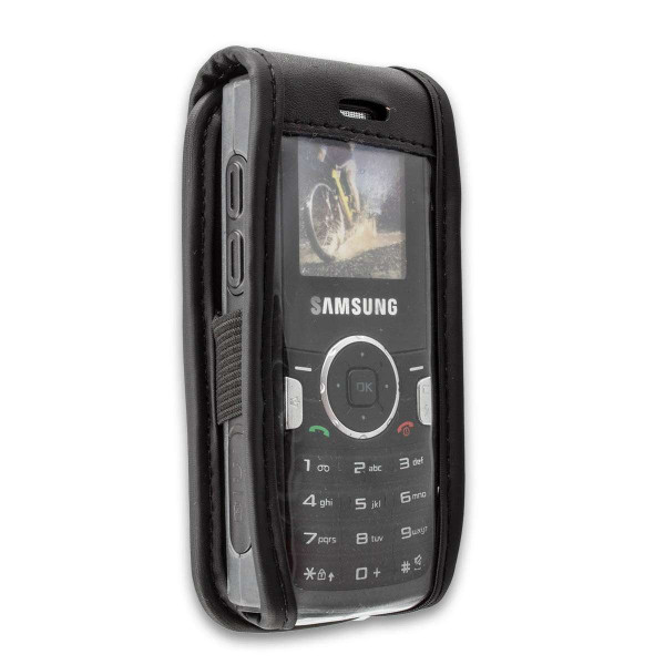 caseroxx Leather-Case with belt clip for Samsung SGH-M110 made of genuine leather, mobile phone cover in black