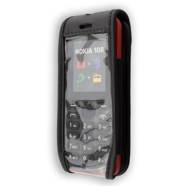 caseroxx Leather-Case with belt clip for Nokia 108 made of genuine leather, mobile phone cover in black