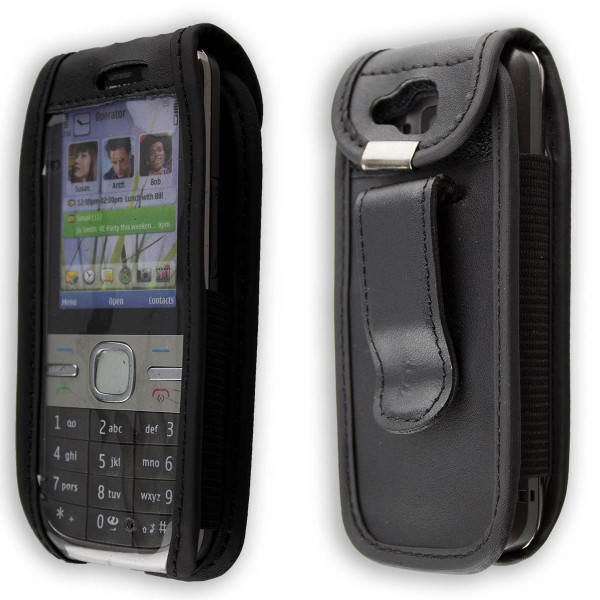 caseroxx Leather-Case with belt clip for Nokia C5-00 C 5 made of genuine leather, mobile phone cover in black
