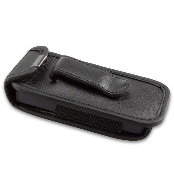 caseroxx Leather-Case with belt clip for Samsung B100 made of genuine leather, mobile phone cover in black