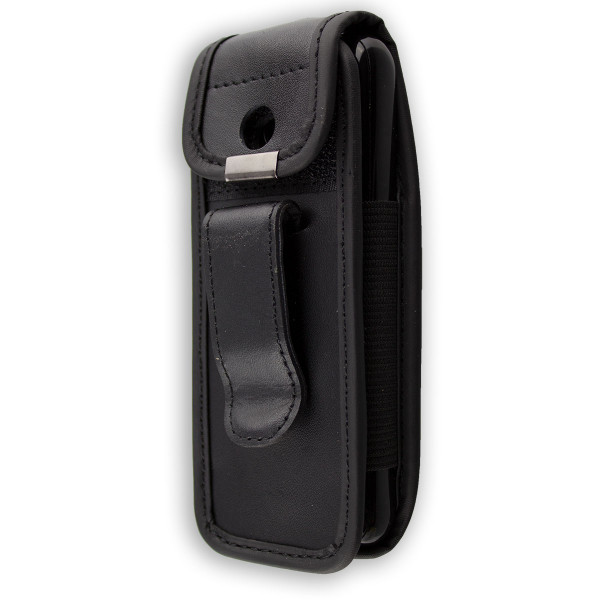 caseroxx Leather-Case with belt clip for Nokia 222 made of genuine leather, mobile phone cover in black