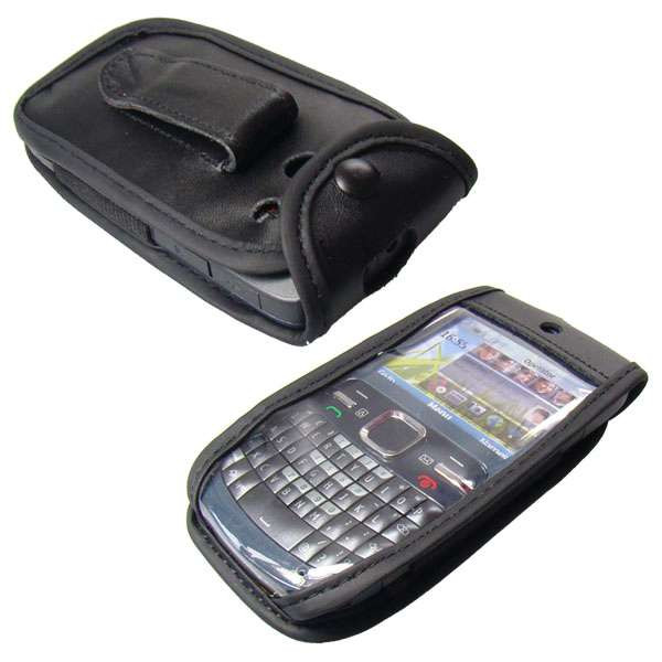 caseroxx Leather-Case with belt clip for Nokia C3-00 made of genuine leather, mobile phone cover in black