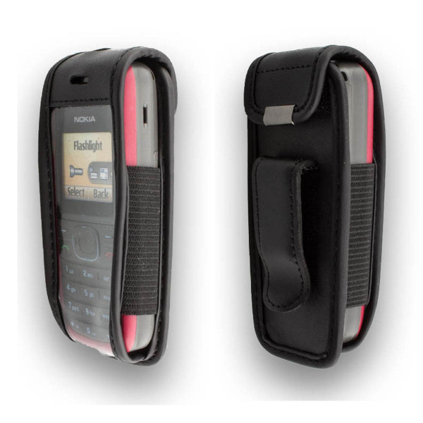 caseroxx Leather-Case with belt clip for Nokia 1200 und 1208 made of genuine leather, mobile phone cover in black