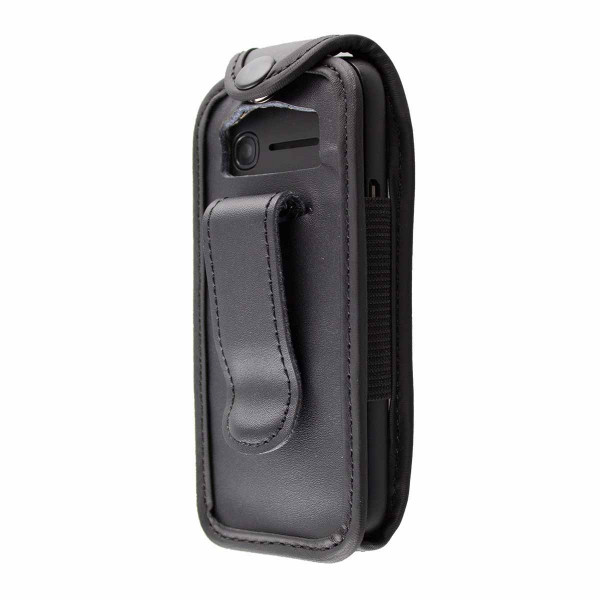 caseroxx Leather-Case with belt clip for Alcatel OneTouch 1052G made of genuine leather, mobile phone cover in black