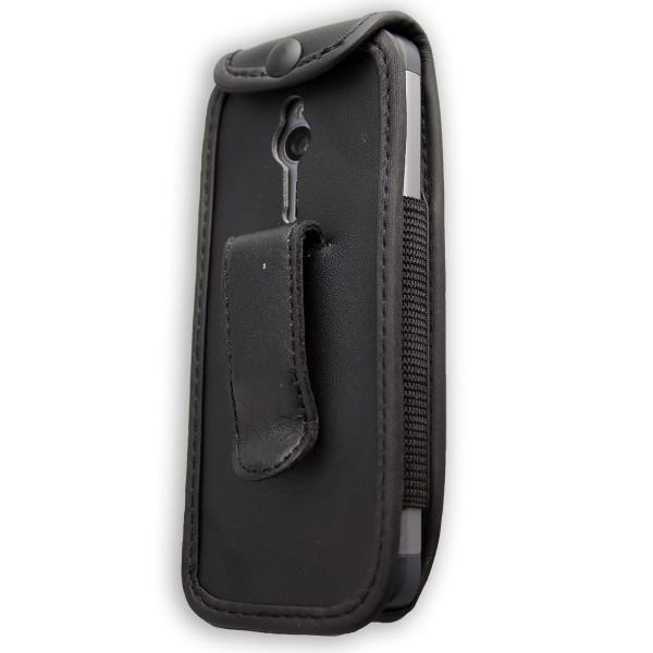 caseroxx Ledertasche mit Gürtelclip für Nokia 230 aus Echtleder, Handyhülle für Gürtel (mit Sichtfen
