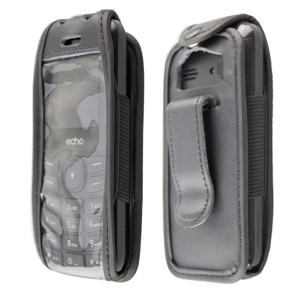 caseroxx Leather-Case with belt clip for Echo First 2 made of genuine leather, mobile phone cover in black