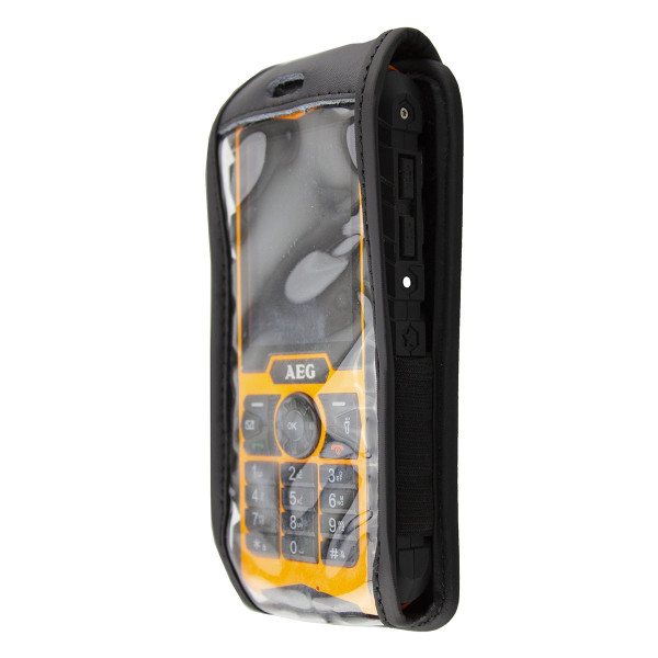 caseroxx Leather-Case with belt clip for AEG M550 Outdoor made of genuine leather, mobile phone cover in black