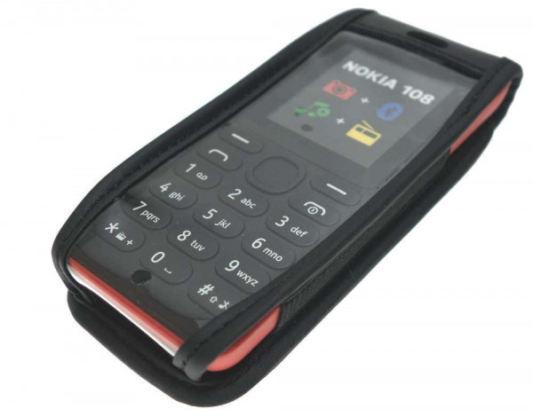 caseroxx Leather-Case with belt clip for Nokia 106 made of genuine leather, mobile phone cover in black