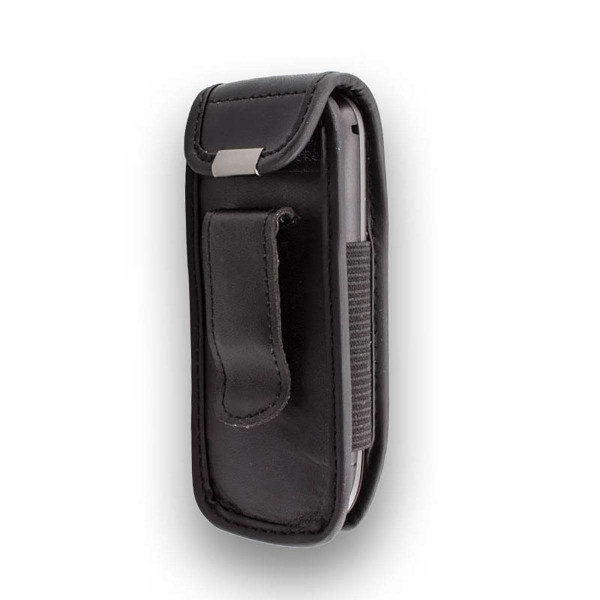 caseroxx Leather-Case with belt clip for Samsung GT-E1200R made of genuine leather, mobile phone cover in black