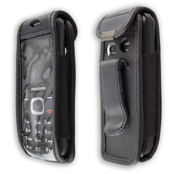 caseroxx Ledertasche mit Gürtelclip für Swisstone SC230 aus Echtleder, Handyhülle für Gürtel (mit Si