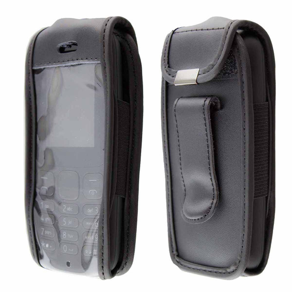 caseroxx Leather-Case with belt clip for Nokia 105 (2017) made of genuine leather, mobile phone cover in black