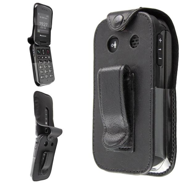 caseroxx Leather-Case with belt clip for Panasonic KX-TU327 TU328 TU329 TU339 TU349 made of genuine leather, mobile phone cover in black