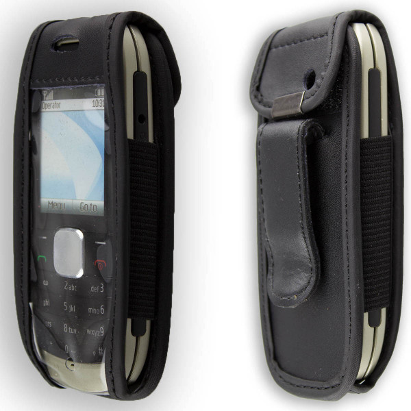 caseroxx Leather-Case with belt clip for Nokia 1800 made of genuine leather, mobile phone cover in black