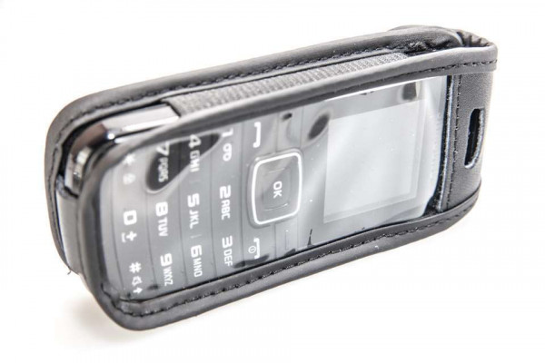 caseroxx Leather-Case with belt clip for Samsung GT E-1050 made of genuine leather, mobile phone cover in black