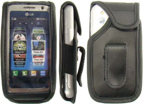 caseroxx Leather-Case with belt clip for LG KM900 Arena made of genuine leather, mobile phone cover in black