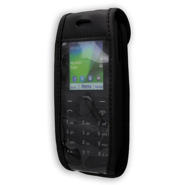 caseroxx Leather-Case with belt clip for Nokia 112 made of genuine leather, mobile phone cover in black