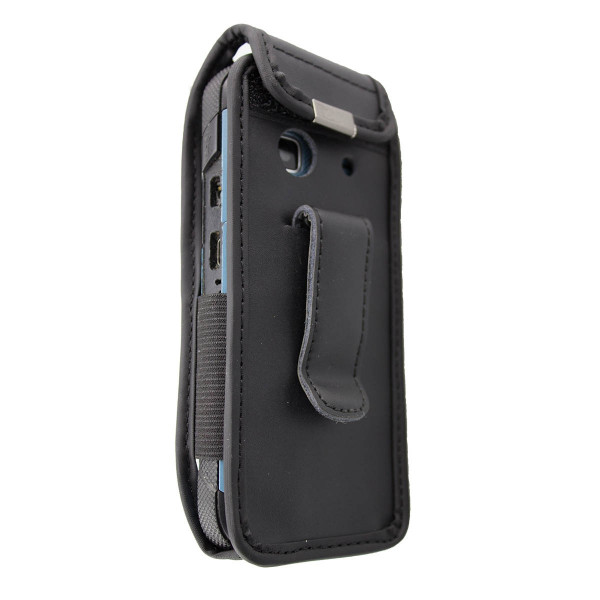 caseroxx Leather-Case with belt clip for Orange Hapi 50 made of genuine leather, mobile phone cover in black