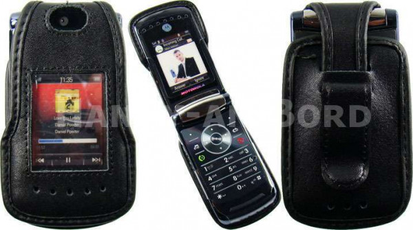 caseroxx Leather-Case with belt clip for Motorola RAZR V8 made of genuine leather, mobile phone cover in black