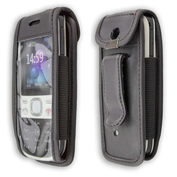 caseroxx Leather-Case with belt clip for Nokia 2690 made of genuine leather, mobile phone cover in black