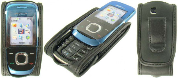 caseroxx Leather-Case with belt clip for Nokia 2680 Slide made of genuine leather, mobile phone cover in black