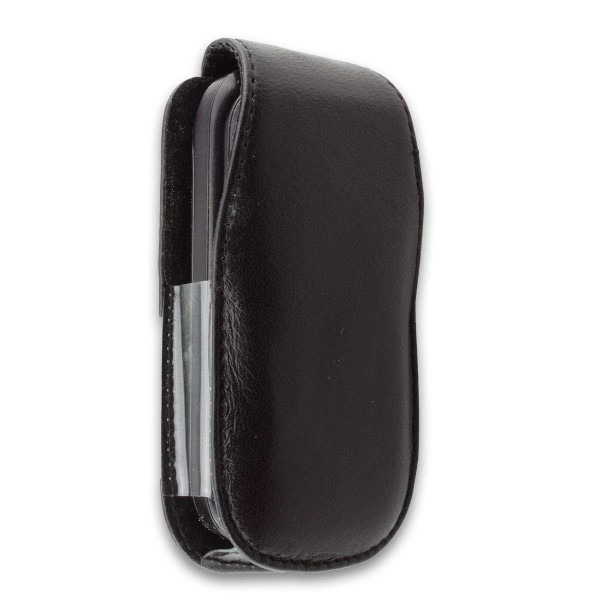 caseroxx Leather-Case with belt clip for Samsung E1190 made of genuine leather, mobile phone cover in black
