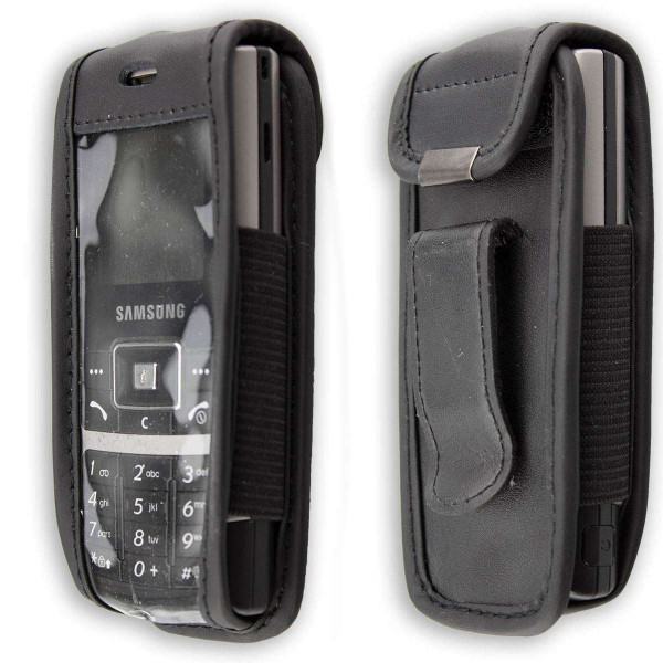 caseroxx Leather-Case with belt clip for Samsung SGH-C130 made of genuine leather, mobile phone cover in black