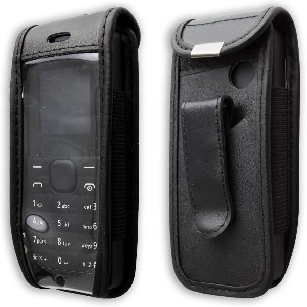 caseroxx Ledertasche mit Gürtelclip für Nokia 105 aus Echtleder, Handyhülle für Gürtel (mit Sichtfen