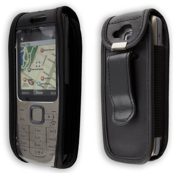caseroxx Leather-Case with belt clip for Nokia 2710 made of genuine leather, mobile phone cover in black
