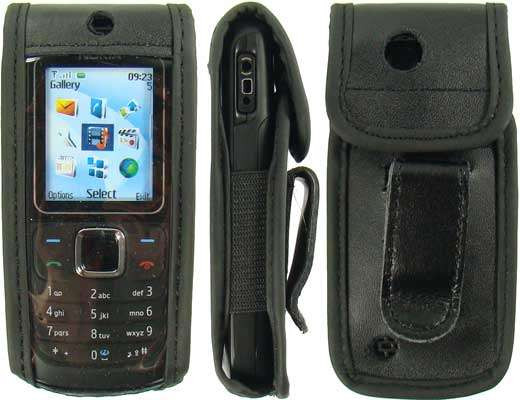 caseroxx Leather-Case with belt clip for Nokia 1680 Classic made of genuine leather, mobile phone cover in black