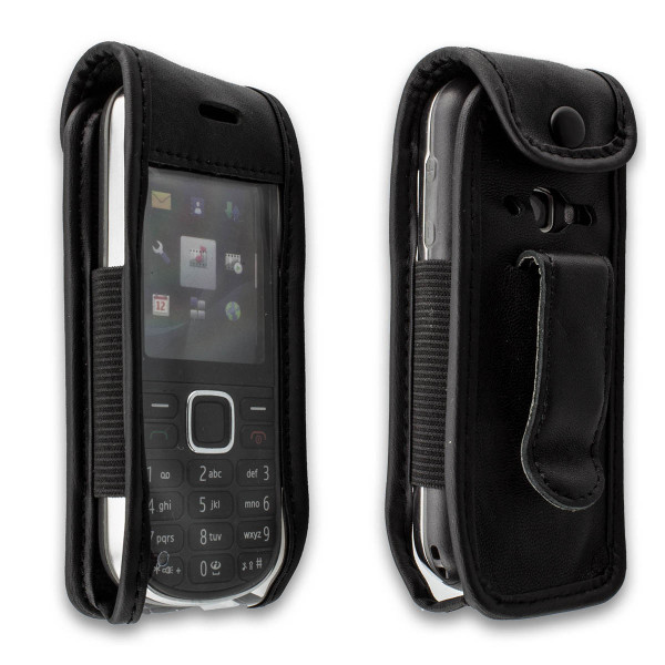 caseroxx Leather-Case with belt clip for Nokia 3720 made of genuine leather, mobile phone cover in black