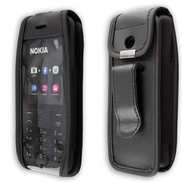 caseroxx Leather-Case with belt clip for Nokia 215 Dual Sim made of genuine leather, mobile phone cover in black