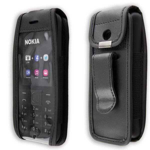 caseroxx Ledertasche mit Gürtelclip für Nokia 215 Dual Sim aus Echtleder, Handyhülle für Gürtel (mit