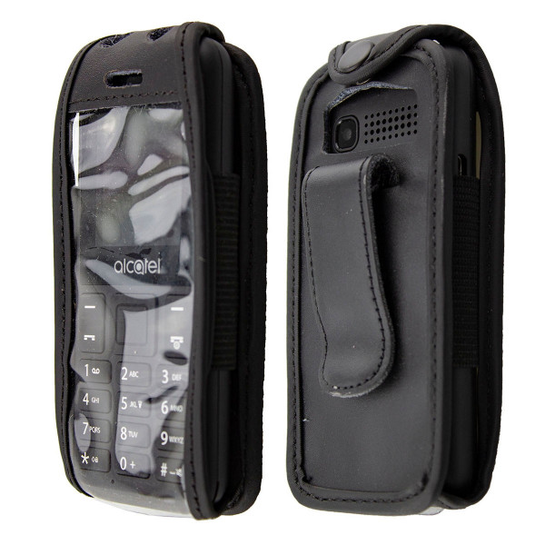 caseroxx Leather-Case with belt clip for Alcatel 1066 made of genuine leather, mobile phone cover in black