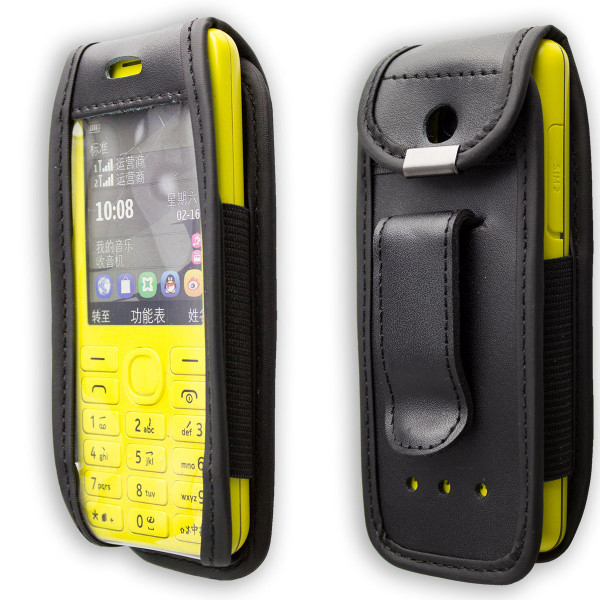 caseroxx Leather-Case with belt clip for Nokia 206 made of genuine leather, mobile phone cover in black