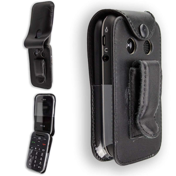 caseroxx Leather-Case with belt clip for Doro PhoneEasy 612 / 613 made of genuine leather, mobile phone cover in black