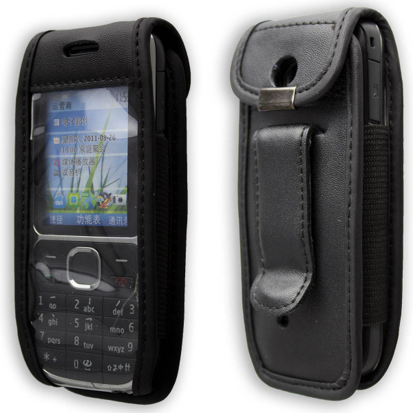 caseroxx Leather-Case with belt clip for Nokia C2-01 made of genuine leather, mobile phone cover in black
