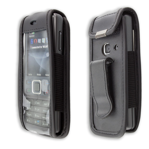 caseroxx Leather-Case with belt clip for Nokia 6300 made of genuine leather, mobile phone cover in black