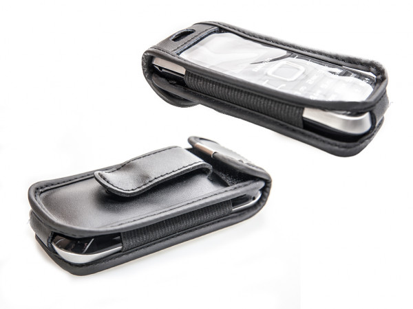 caseroxx Leather-Case with belt clip for Samsung GT-E1205T made of genuine leather, mobile phone cover in black