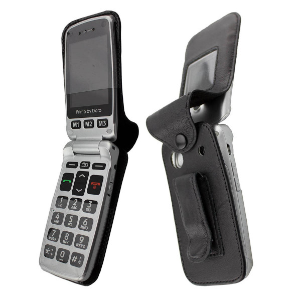 caseroxx Leather-Case with belt clip for Doro Primo 413 made of genuine leather, mobile phone cover in black