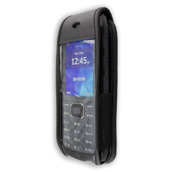 caseroxx Leather-Case with belt clip for Samsung Xcover 550 / B550 made of genuine leather, mobile phone cover in black