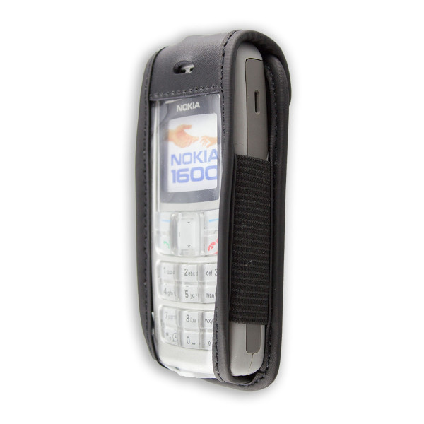 caseroxx Leather-Case with belt clip for Nokia 1600 made of genuine leather, mobile phone cover in black