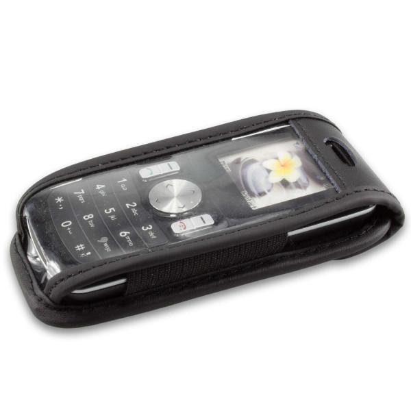 caseroxx Ledertasche mit Gürtelclip für LG GB102 aus Echtleder, Handyhülle für Gürtel (mit Sichtfens