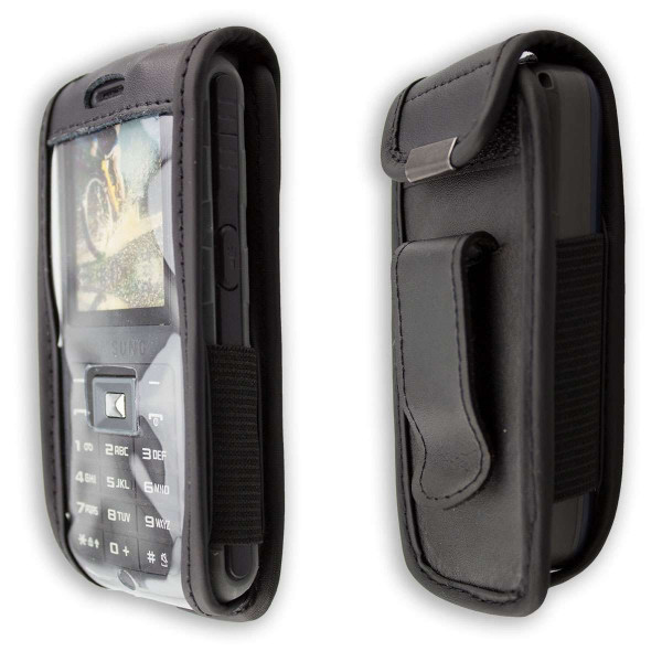 caseroxx Leather-Case with belt clip for Samsung B2700 made of genuine leather, mobile phone cover in black